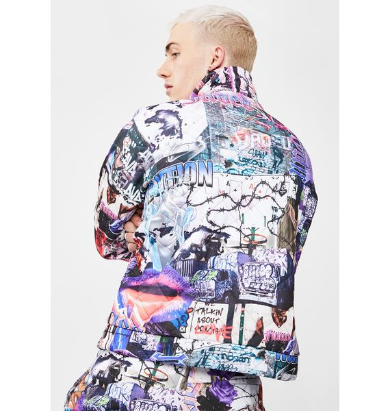 Jaded London Mashup Graffiti Quilted Jacket
