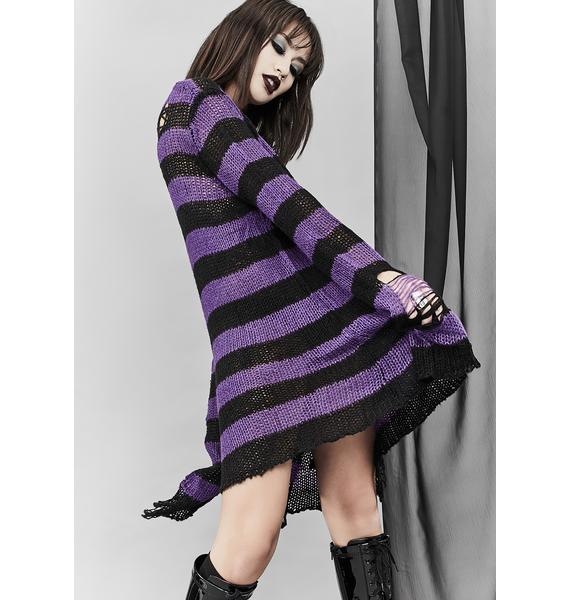 Widow Amethyst Eternal Nightmare Distressed Sweater