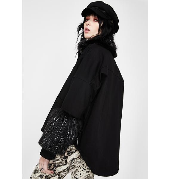 EastnWest Black Fur Trim Denim Jacket