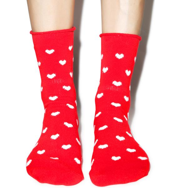 Plush Heart U 4ever Fleece Socks