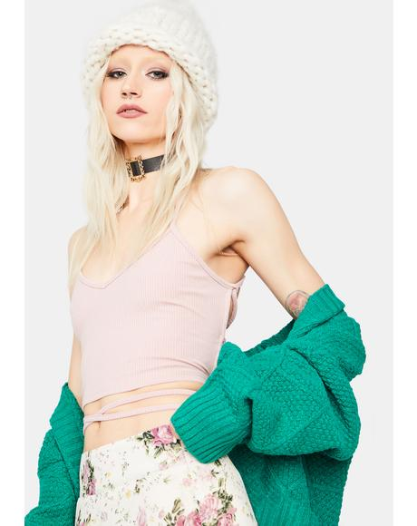 Babe Let's Get Paid Lace Up Crop Top