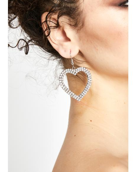 Bling Baddie Heart Earrings
