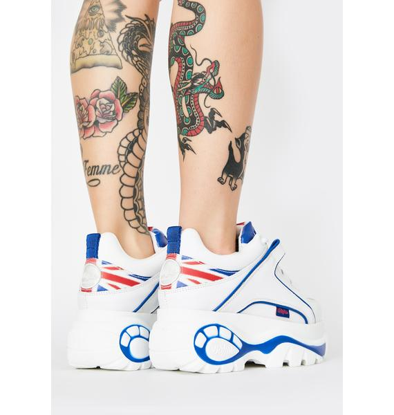 Buffalo London UK Flag Classic Low Leather Sneakers