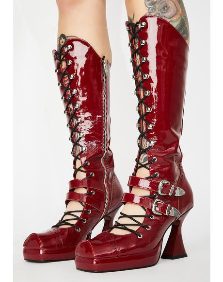 Bloody Lace Up Leather Boots