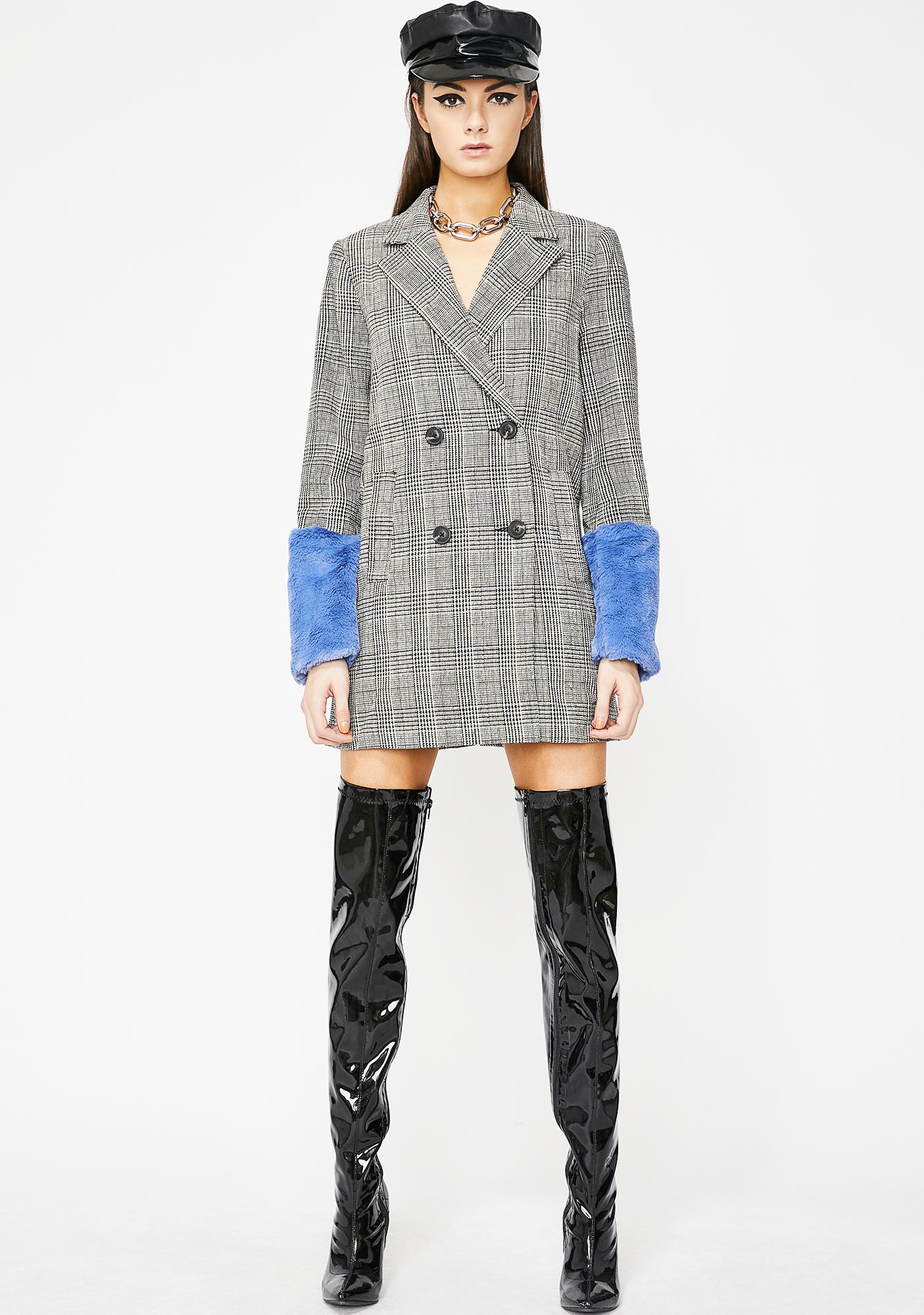 Plaid Princess Longline Blazer