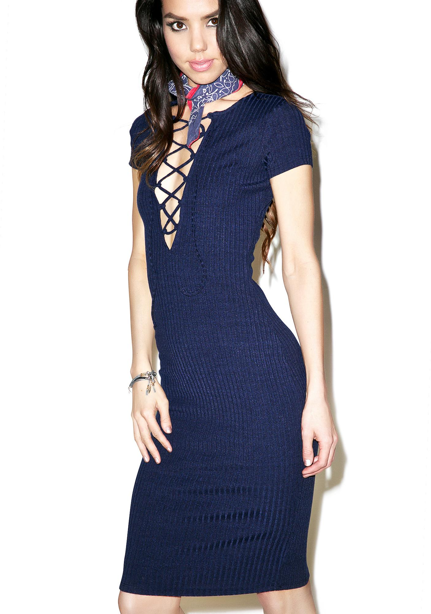 Rinoa Lace Up Midi Dress