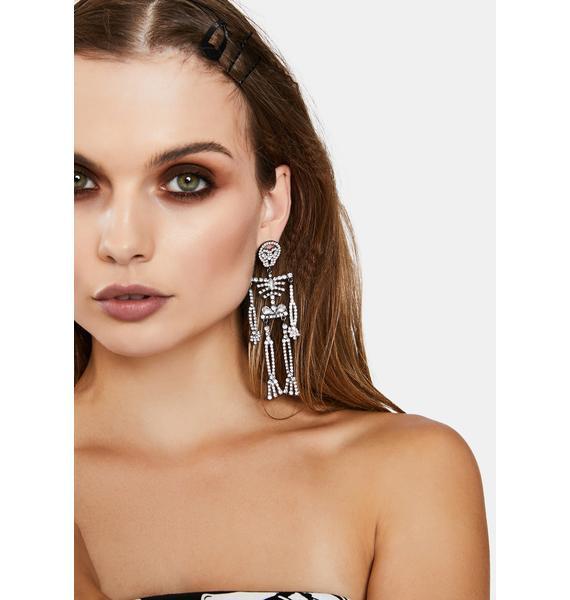 Skeleton Rhinestone Earrings