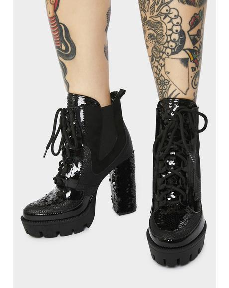 Midnight Glitter Rage Platform Boots