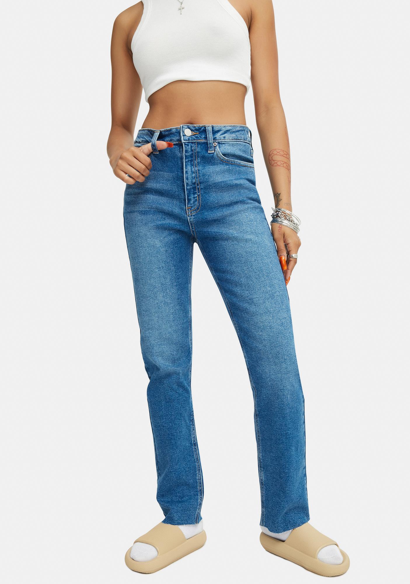 Just Black Denim  Cropped Straight Leg Medium Denim Jeans