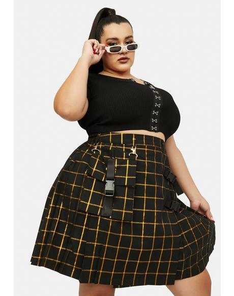 Plus RA Pleated Mini Skirt