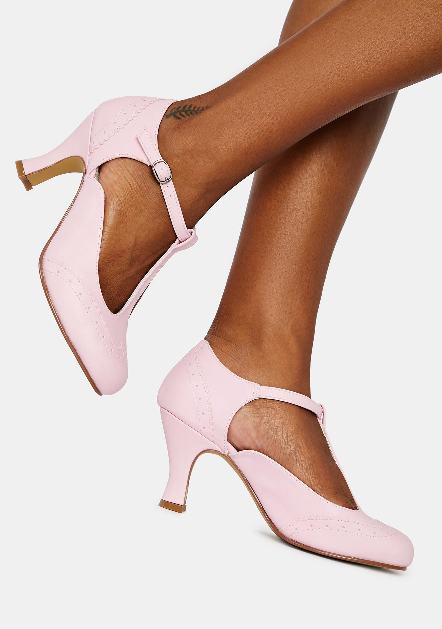 Pin Up Couture Pink Flapper Block Heels