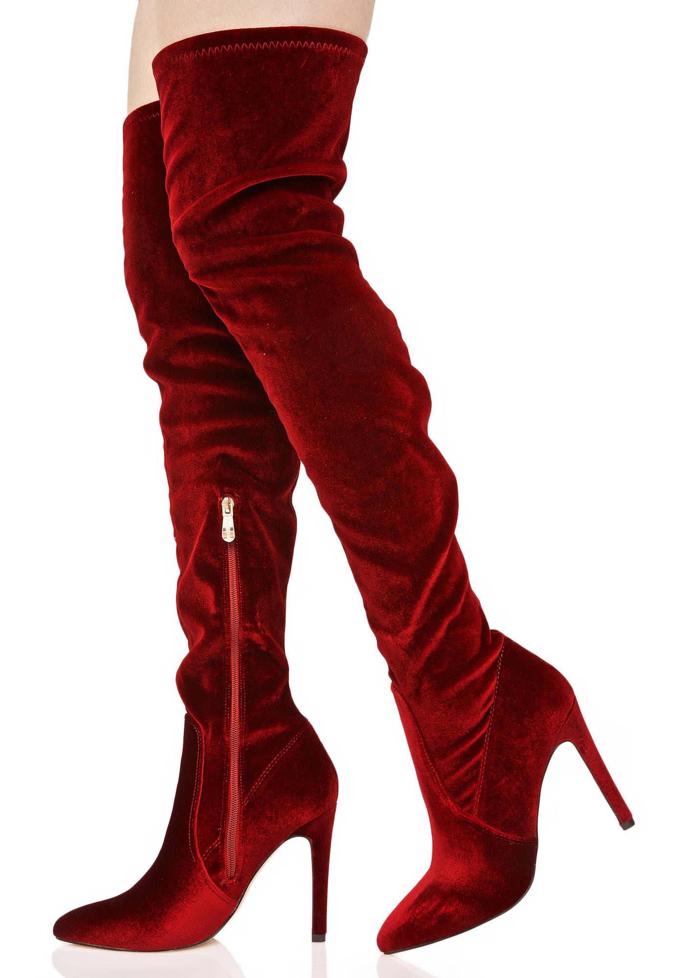 Sexy Red Velvet Thigh High Boots | Dolls Kill