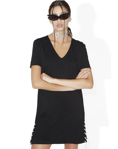 Oxford Side Lace Tee-Shirt Dress