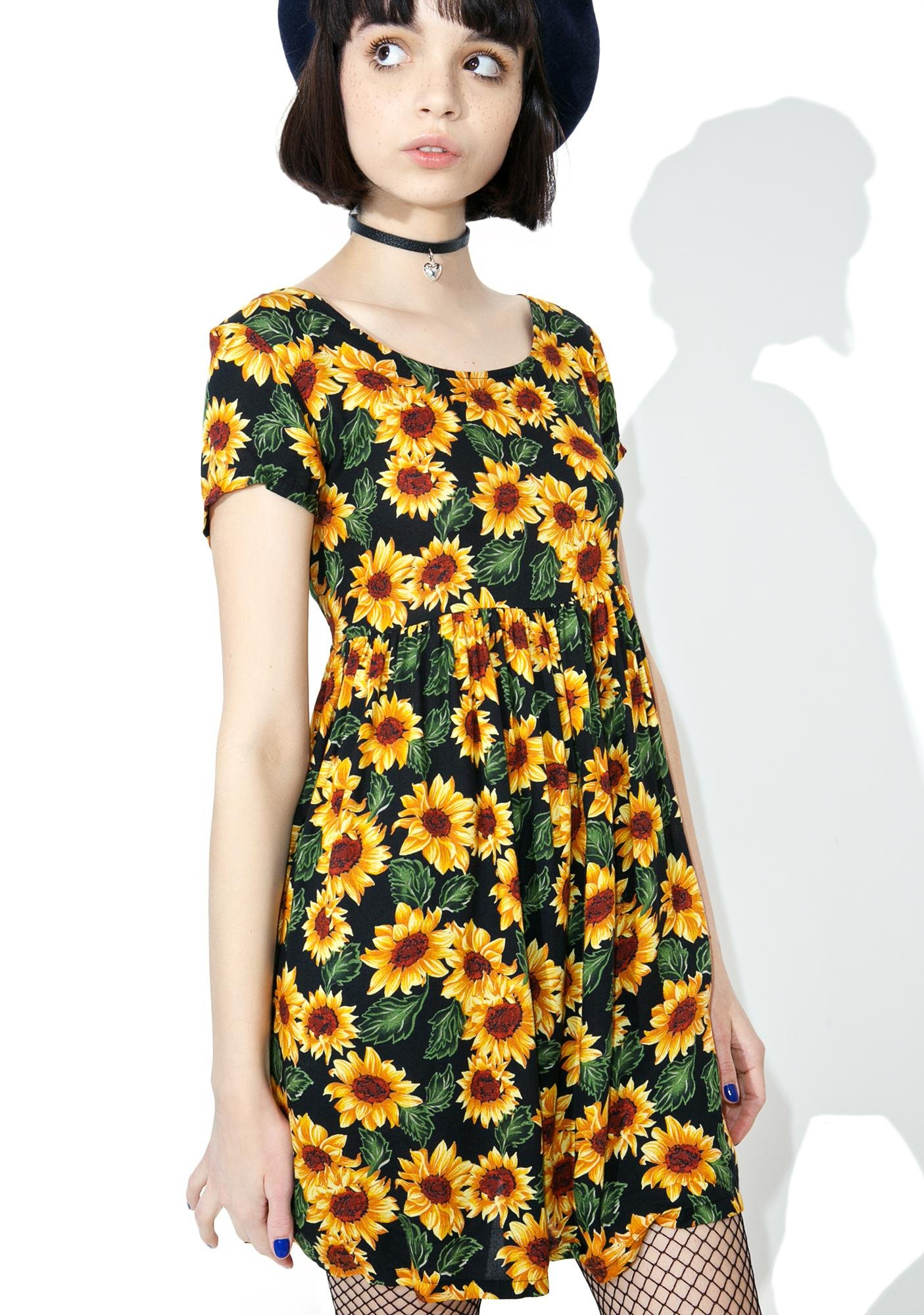 Vintage 90s Sunflower Babydoll Dress Dolls Kill