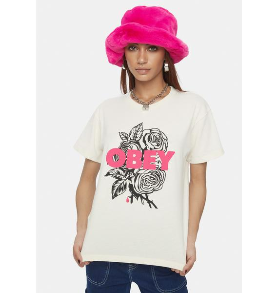 Obey Cream Blood & Roses Sustainable Graphic Tee