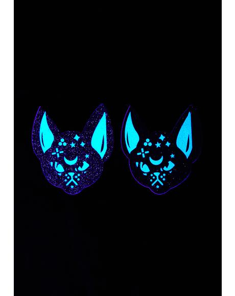 Black Cat Glitter UV Pasties
