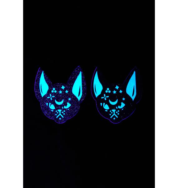 Neva Nude Black Cat Glitter UV Pasties