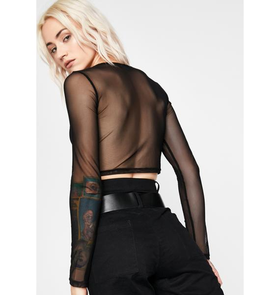 Rendezvous Point Mesh Long Sleeve Top