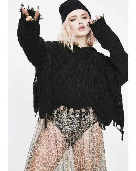 Taking The Night Cropped Sweater