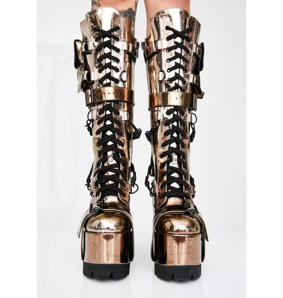 Club Exx Bronze Wasteland Buckle Boots