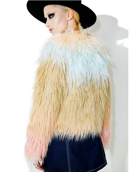 Sherbert Faux Fur Coat