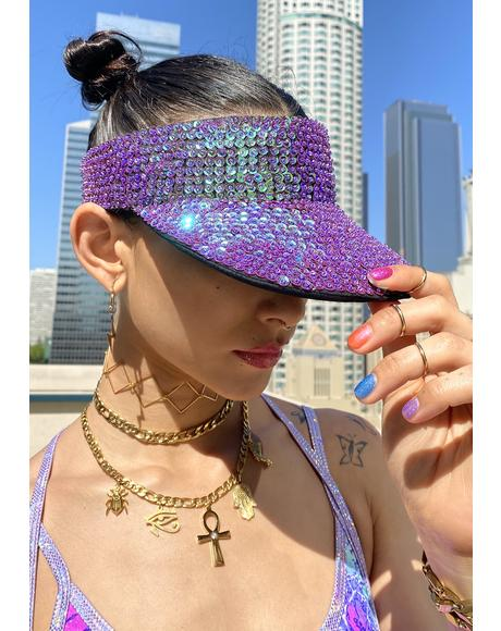 Purple Holo Sequin Visor