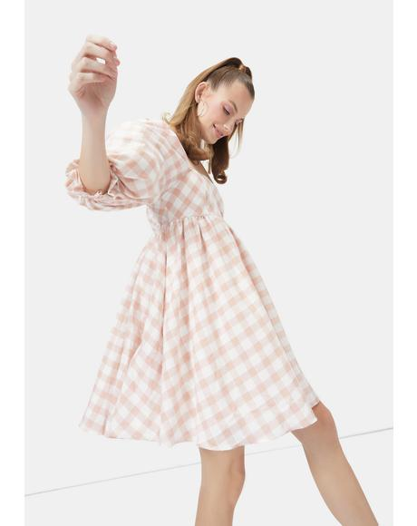Lady Walk Me Home Gingham Babydoll Dress
