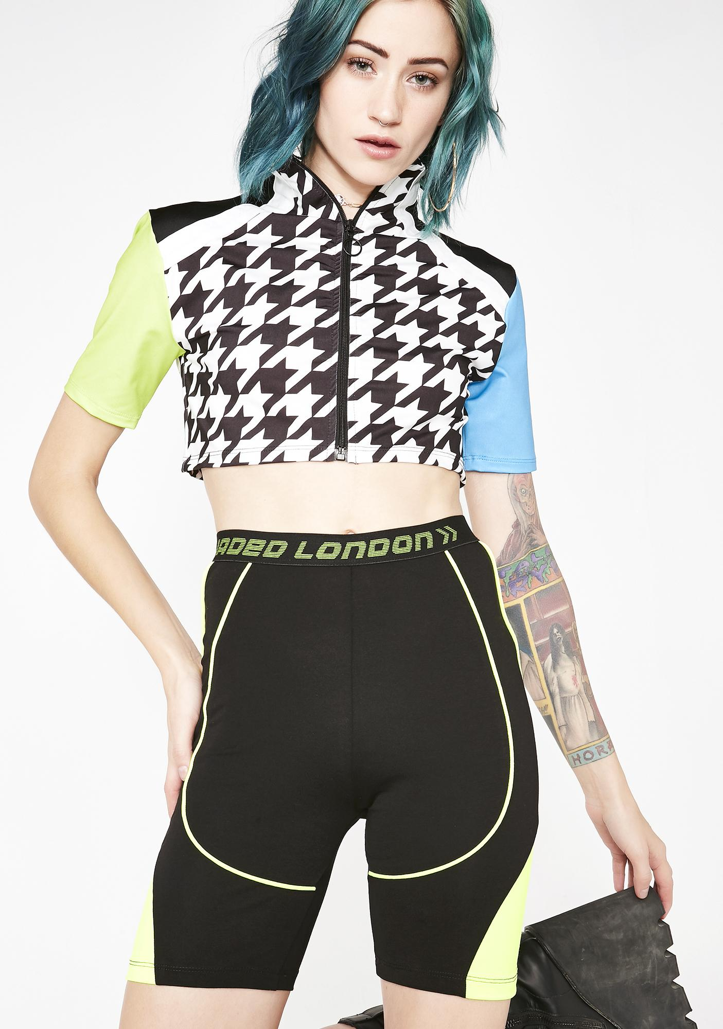 Jaded London Neon Panelled Cycling Shorts