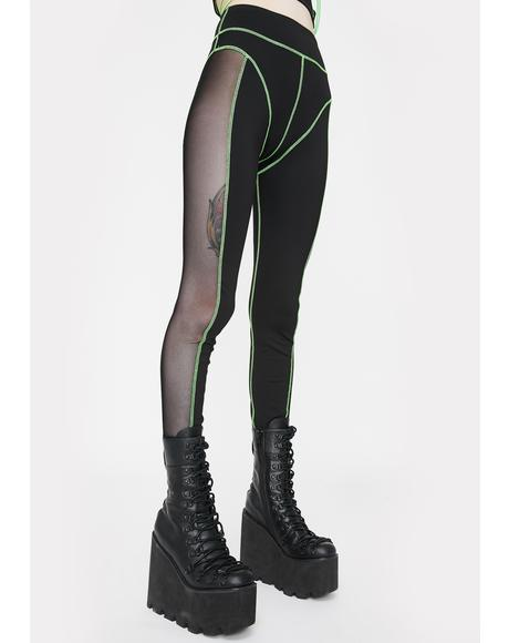 Green & Black Mesh High Waist Leggings
