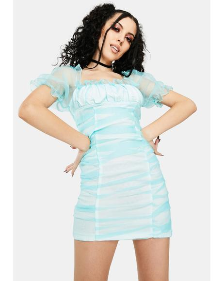 Minty Ruched Mini Dress