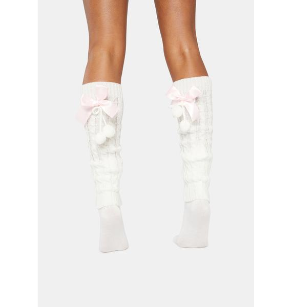 Blush Candy Cane Knitted Legwarmers