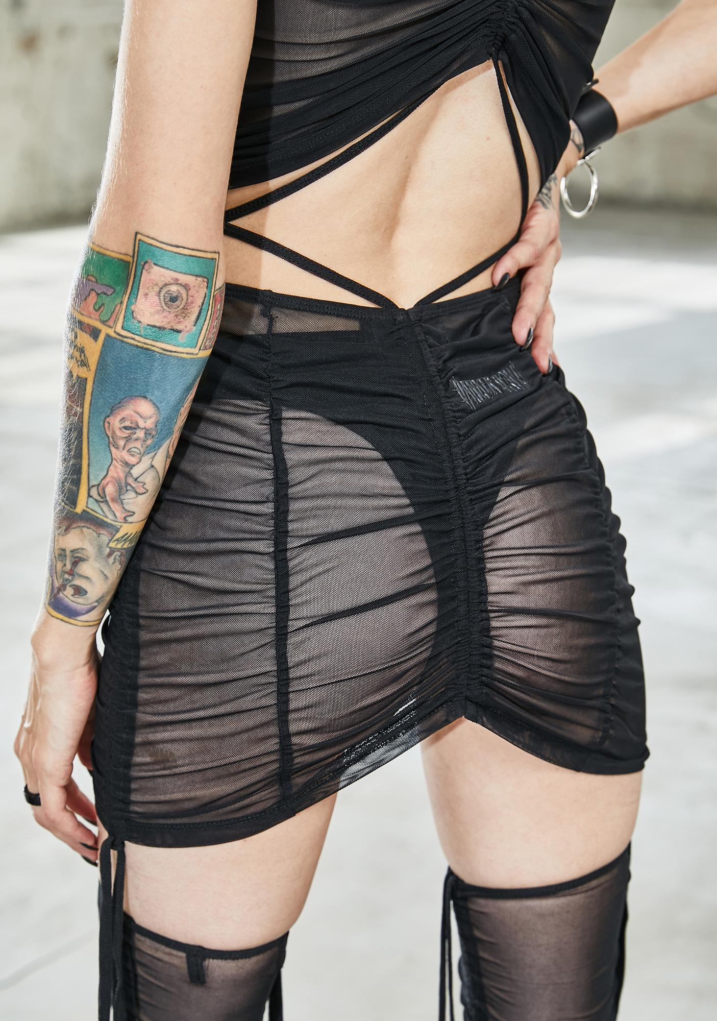 DARKER WAVS Bassline Mesh Ruched Mini Skirt