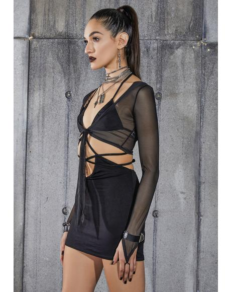 Snare Strappy Mini Dress And Mesh Shrug Set
