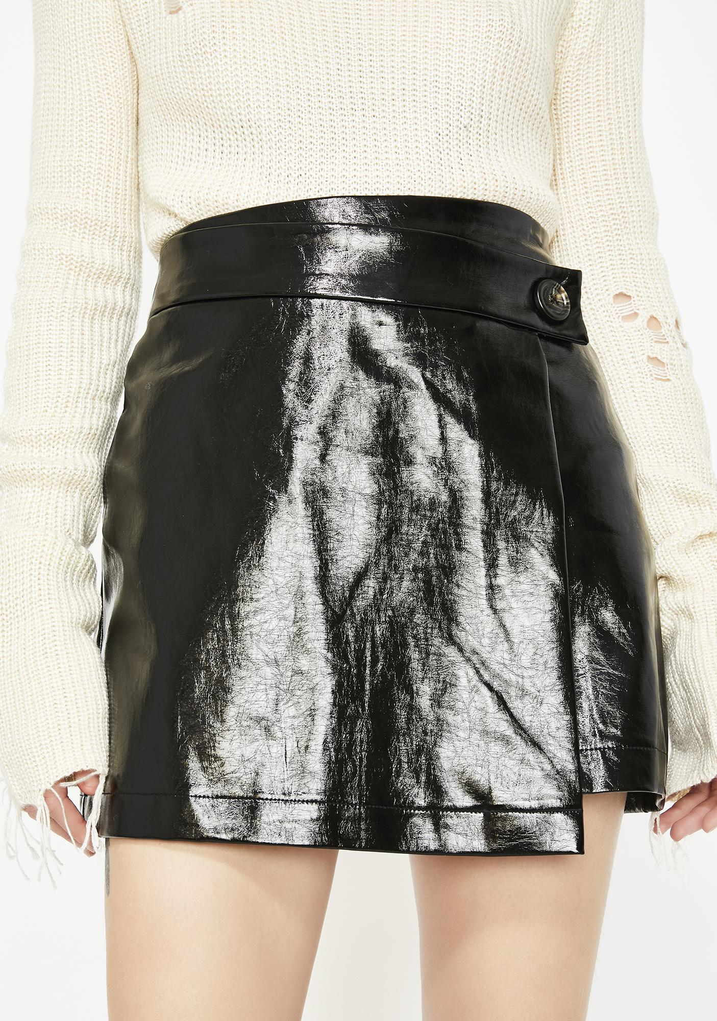 Midnight Taking Chances Vinyl Skirt