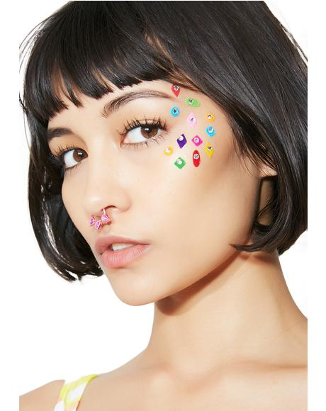 Gem Felt Face Stickers