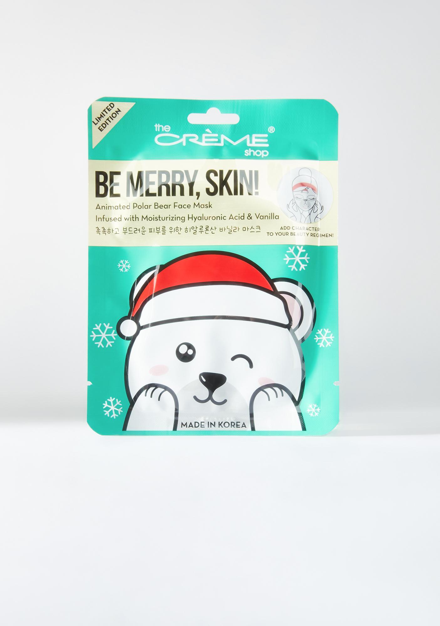 The Crème Shop Be Merry Skin! Animated Sheet Mask Polar Bear 7pc