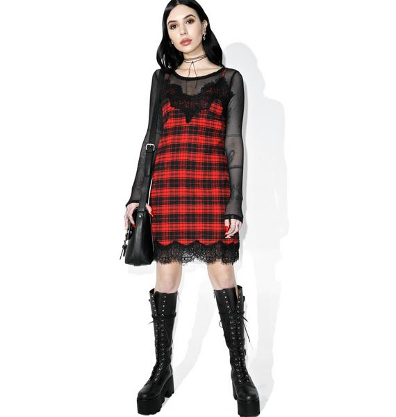 Scarlet Falling Out Plaid Slip Dress