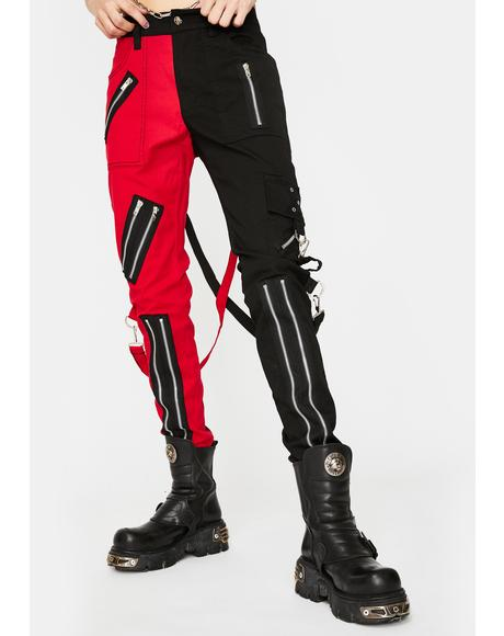 Red Split Leg Bondage Pants
