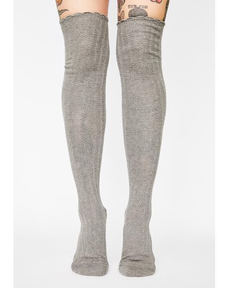 Linear Twist Over The Knee Socks