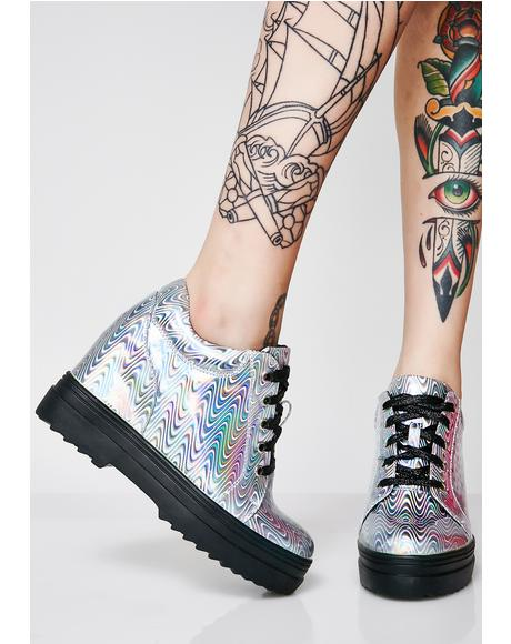 Liquid Rainbowgasm Wedge Sneakers