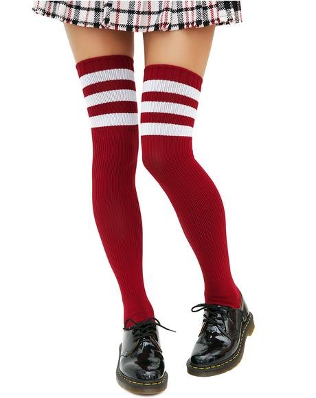 Burgundy Rack 'Em Up Athletic Thigh Highs
