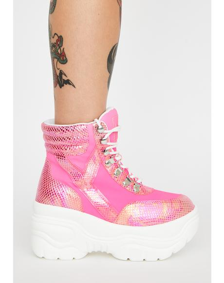 Matrixx Hi Hot Pink Platform Sneakers