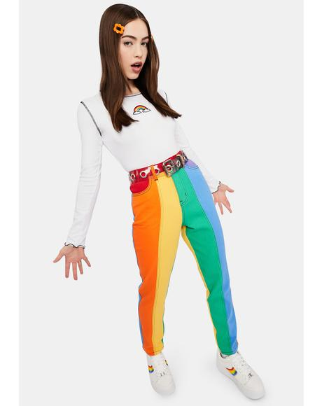 All Is Bright Twill Mom Jeans