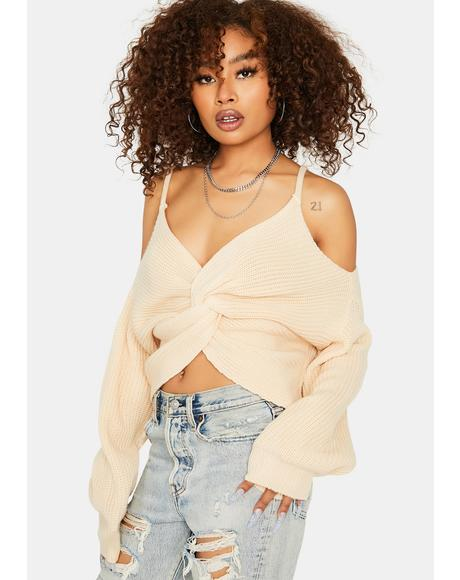 Cream Looking For You Cold Shoulder Sweater