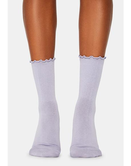 Lilac Ruffled Up Crew Socks
