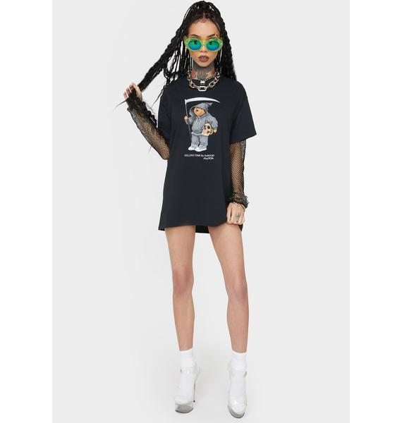 No Hours Black Solo Bear Graphic Tee