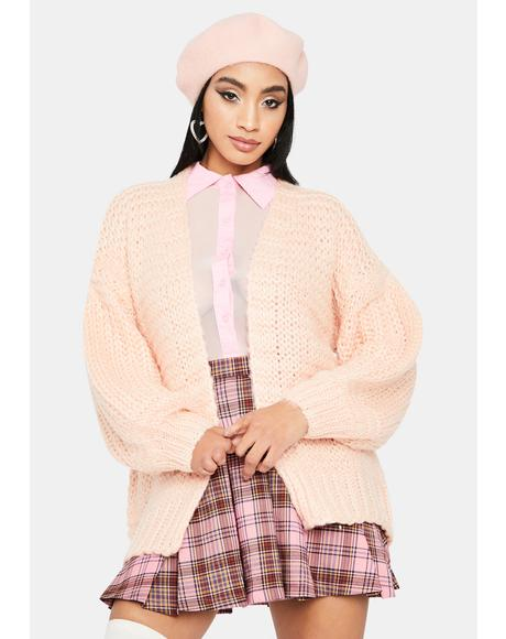 Blush Touched By An Angel Open Front Knit Cardigan