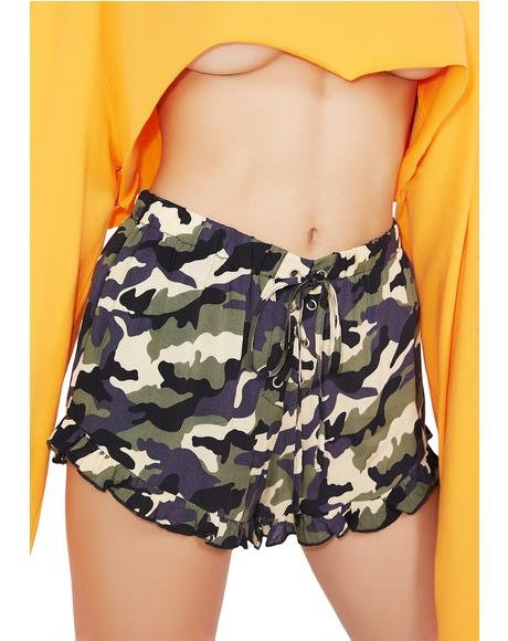 Close Ranks Ruffle Shorts