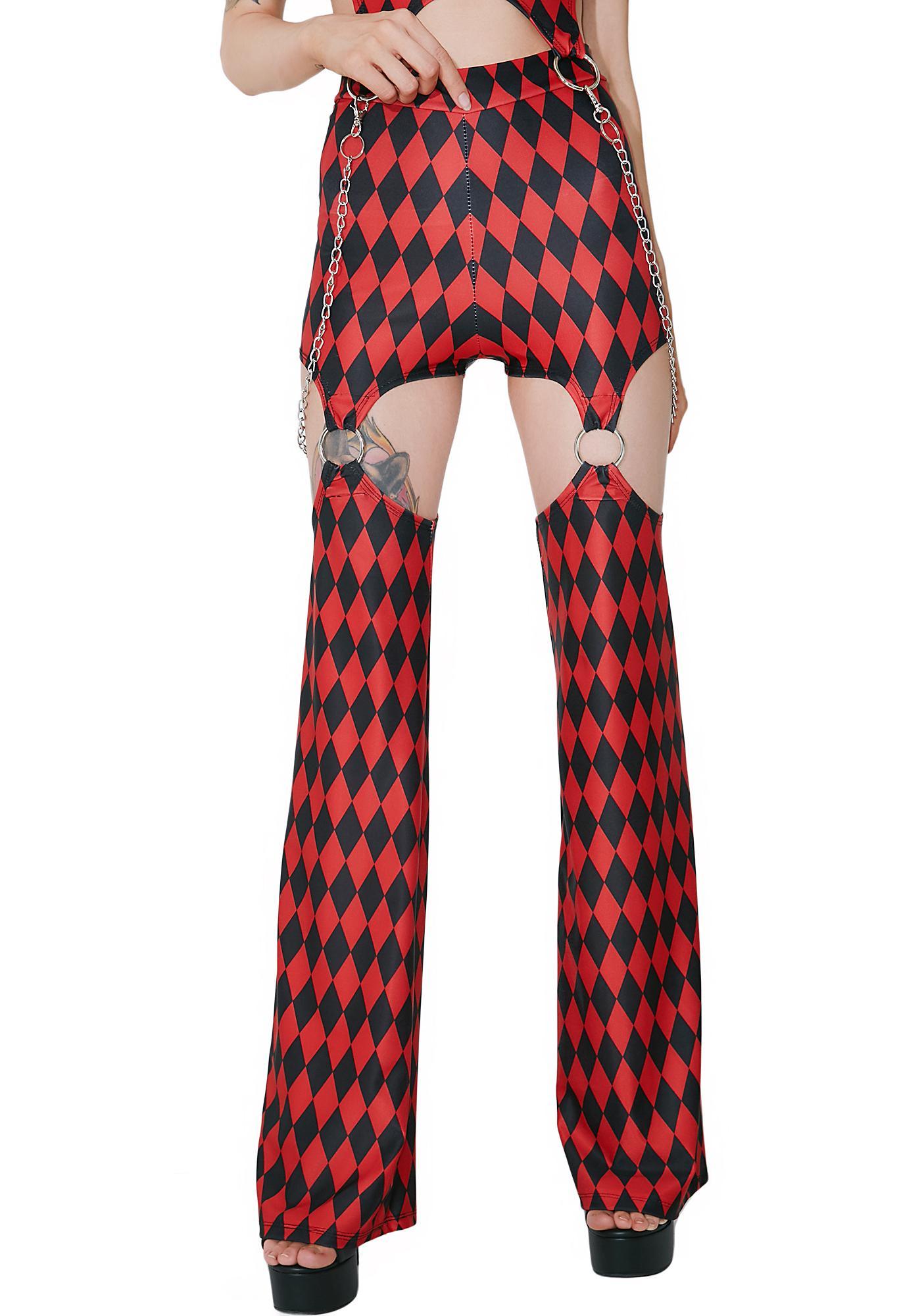 DEVOWEVO Harlequin Vixen Garter Pants