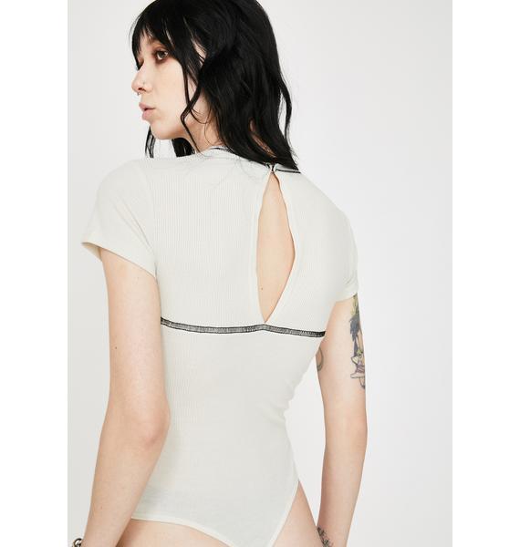 Another Reason Contrast Black Seam Bodysuit